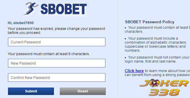 penggantian password sbobet